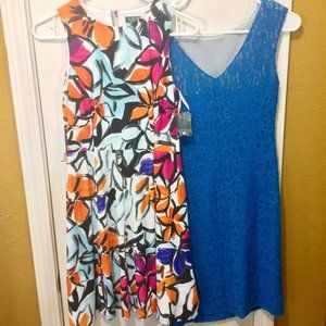 LRL (pair of two dresses) floral, lace NEW w FLAWS
